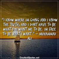 I know where Im going and I know the truth, and I dont have to be what you want me to be. Im free to be what I want. - Muhammad Ali