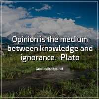 Opinion is the medium between knowledge and ignorance. -Plato
