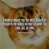 Kindness makes you the most beautiful person in the world no matter what you look like. Be kind