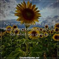 No matter how hard it is, just keep going because you only fail when you give up