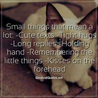 Small things that mean a lot: -Cute texts -Tight hugs -Long replies -Holding hand -Remembering the little things -Kisses on the forehead