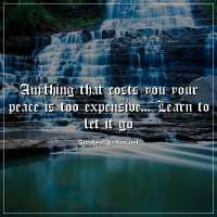 Anything that costs you your peace is too expensive... Learn to let it go
