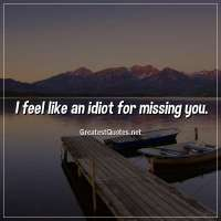 I feel like an idiot for missing you.