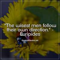 The wisest men follow their own direction. - Euripides