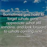 Sometimes you have to forget whats gone, appreciate what still remains, and look forward to whats coming next.