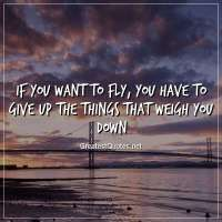 If you want to fly, you have to give up the things that weigh you down