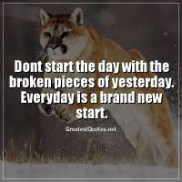 Dont start the day with the broken pieces of yesterday. Everyday is a brand new start