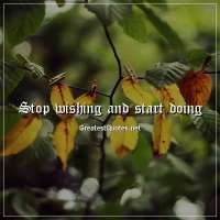 Stop wishing and start doing.