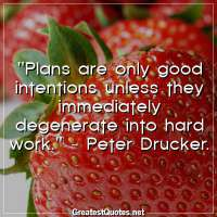 Plans are only good intentions unless they immediately degenerate into hard work. -Peter Drucker