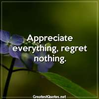 Appreciate everything, regret nothing.
