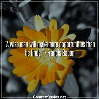 A wise man will make more opportunities than he finds. - Francis Bacon
