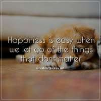 Happiness is easy when we let go of the things that dont matter.