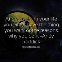 At one point in your life you either have the thing you want or the reasons why you dont -Andy Roddick