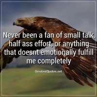 Never been a fan of small talk, half ass effort, or anything that doesnt emotionally fulfill me completely.