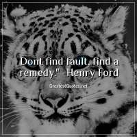 Dont find fault, find a remedy. - Henry Ford