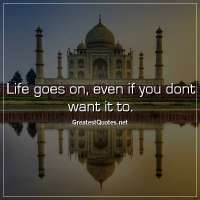 Life goes on, even if you dont want it to