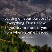 Focusing on your purpose is everything. Don't allow negativity to distract you from where you're headed