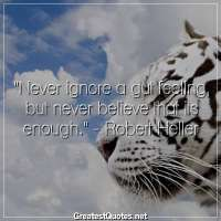 Never ignore a gut feeling, but never believe that its enough. -Robert Heller