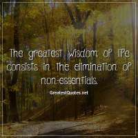 The greatest wisdom of life consists in the elimination of non-essentials