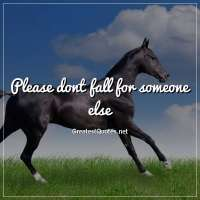 Please dont fall for someone else.