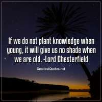 If we do not plant knowledge when young, it will give us no shade when we are old. -Lord Chesterfield