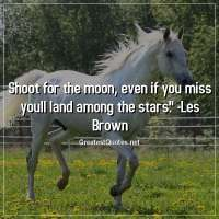 Shoot for the moon, even if you miss youll land among the stars. -Les Brown