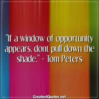 If a window of opportunity appears, dont pull down the shade. - Tom Peters