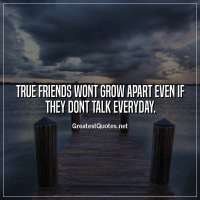 True friends wont grow apart even if they dont talk everyday
