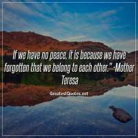 If we have no peace, it is because we have forgotten that we belong to each other. -Mother Teresa