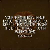 One resolution I have made, and try always to keep, is this: To rise above the little things. -John Burroughs