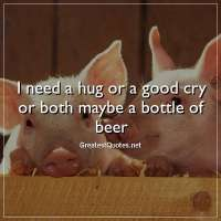 I need a hug or a good cry or both maybe a bottle of beer