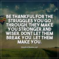 Be thankful for the struggles you go through. They make you stronger and wiser. Dont let them break you. Let them make you.