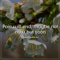 Pain will end, maybe not now but soon.