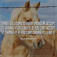Three solutions to every problem: Accept it, change it or leave it. If you cant accept it, change it. If you cant change it, leave it