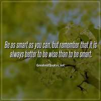 Be as smart as you can, but remember that it is always better to be wise than to be smart.