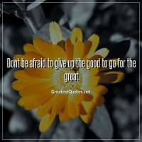 Dont be afraid to give up the good to go for the great