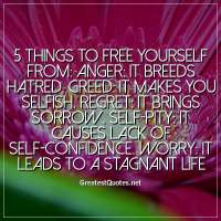 5 Things to Free Yourself From: Anger: it breeds hatred. Greed: it makes you selfish. Regret: it brings sorrow. Self-pity: it causes lack of self-confidence. Worry: it leads to a stagnant life