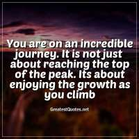 You are on an incredible journey. It is not just about reaching the top of the peak. Its about enjoying the growth as you climb.