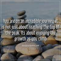 You are on an incredible journey. It is not just about reaching the top of the peak. Its about enjoying the growth as you climb